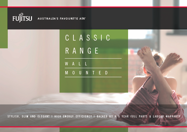 Fijitsu High Wall Split System Classic Range